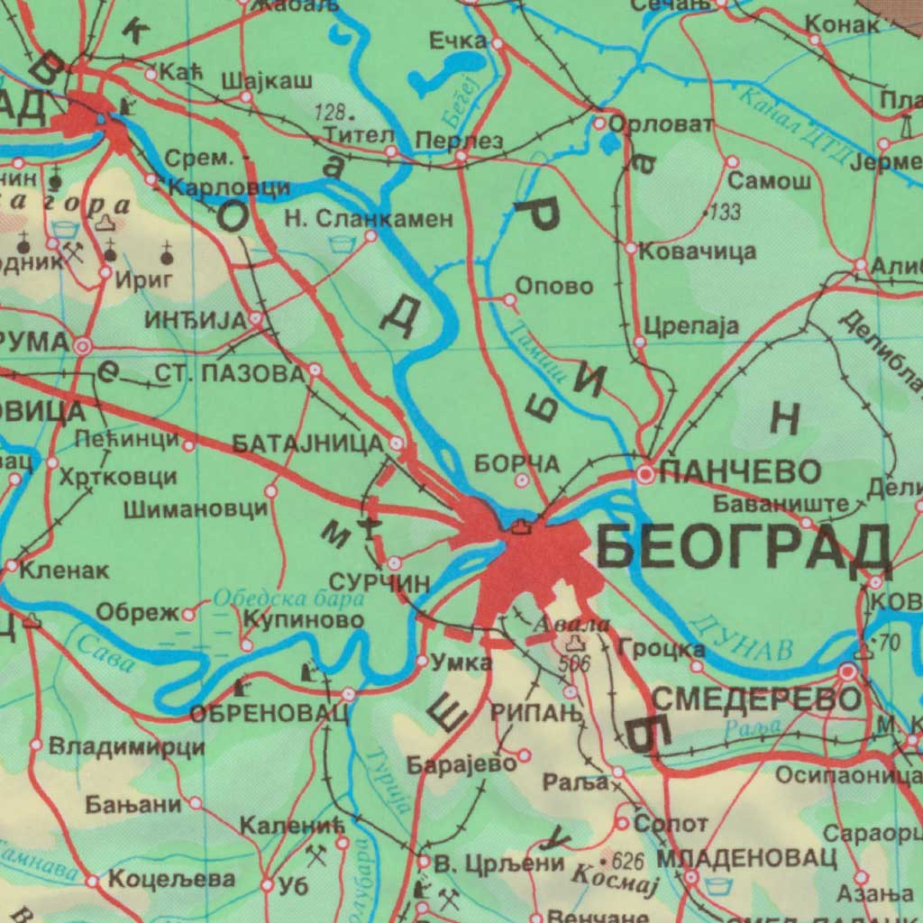Geografska karta 1:1 500 000 (GKSRJ1500) | Vojnogeografski