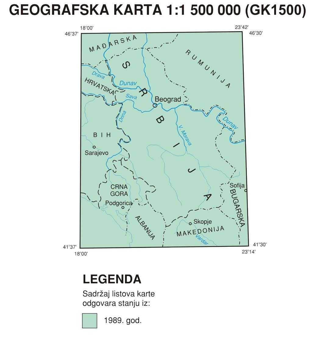 Географска карта 1:1 500 000 (ГКСРЈ1500)