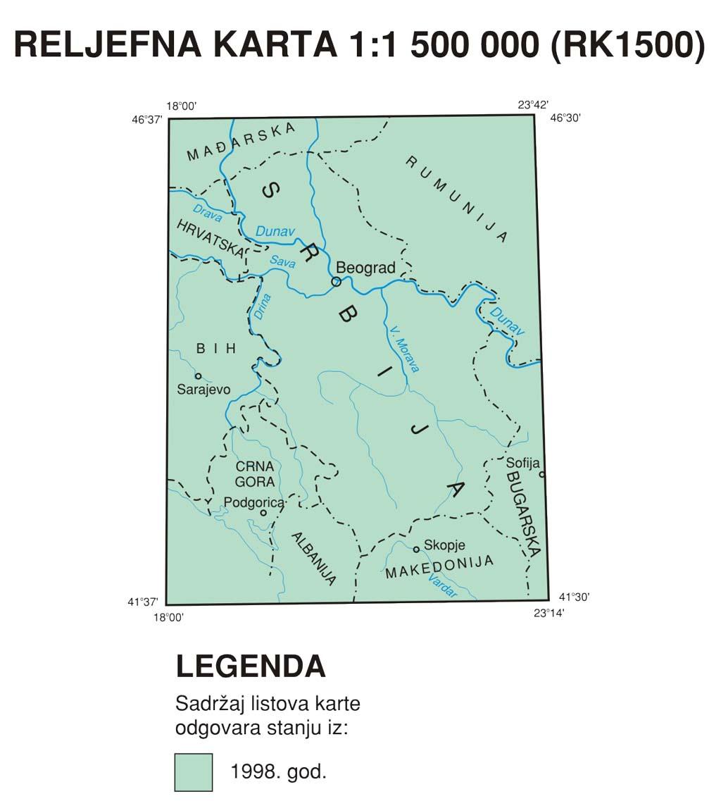 Рељефна географска карта 1:1.500.000