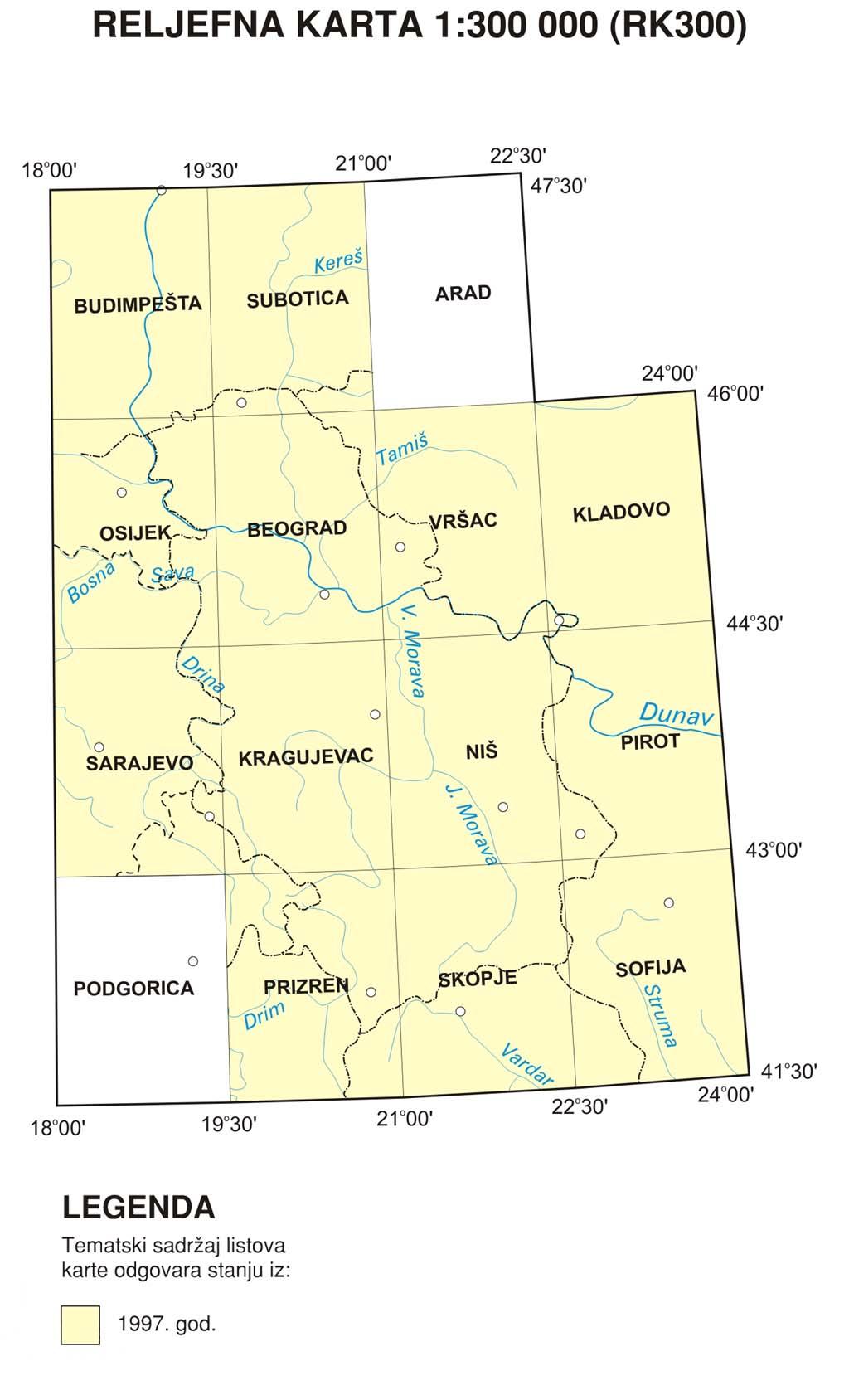 Рељефна прегледно-топографска карта 1:300.000