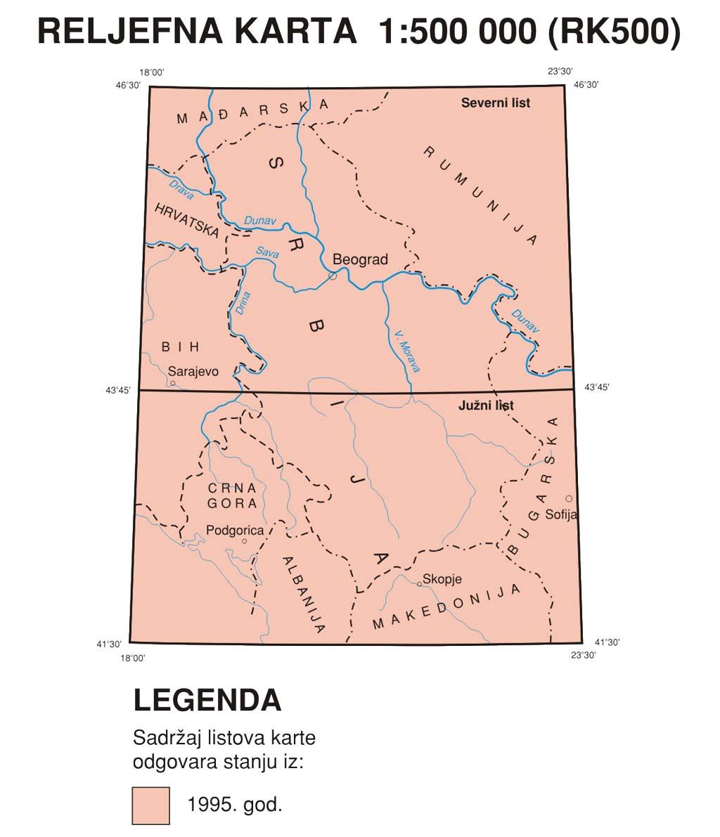 Рељефна прегледно-топографска карта 1:500.000