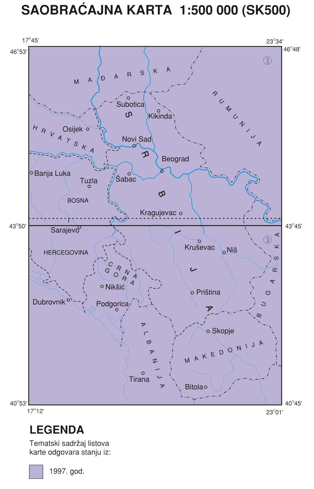 Саобраћајна карта 1:500 000 (СК500)