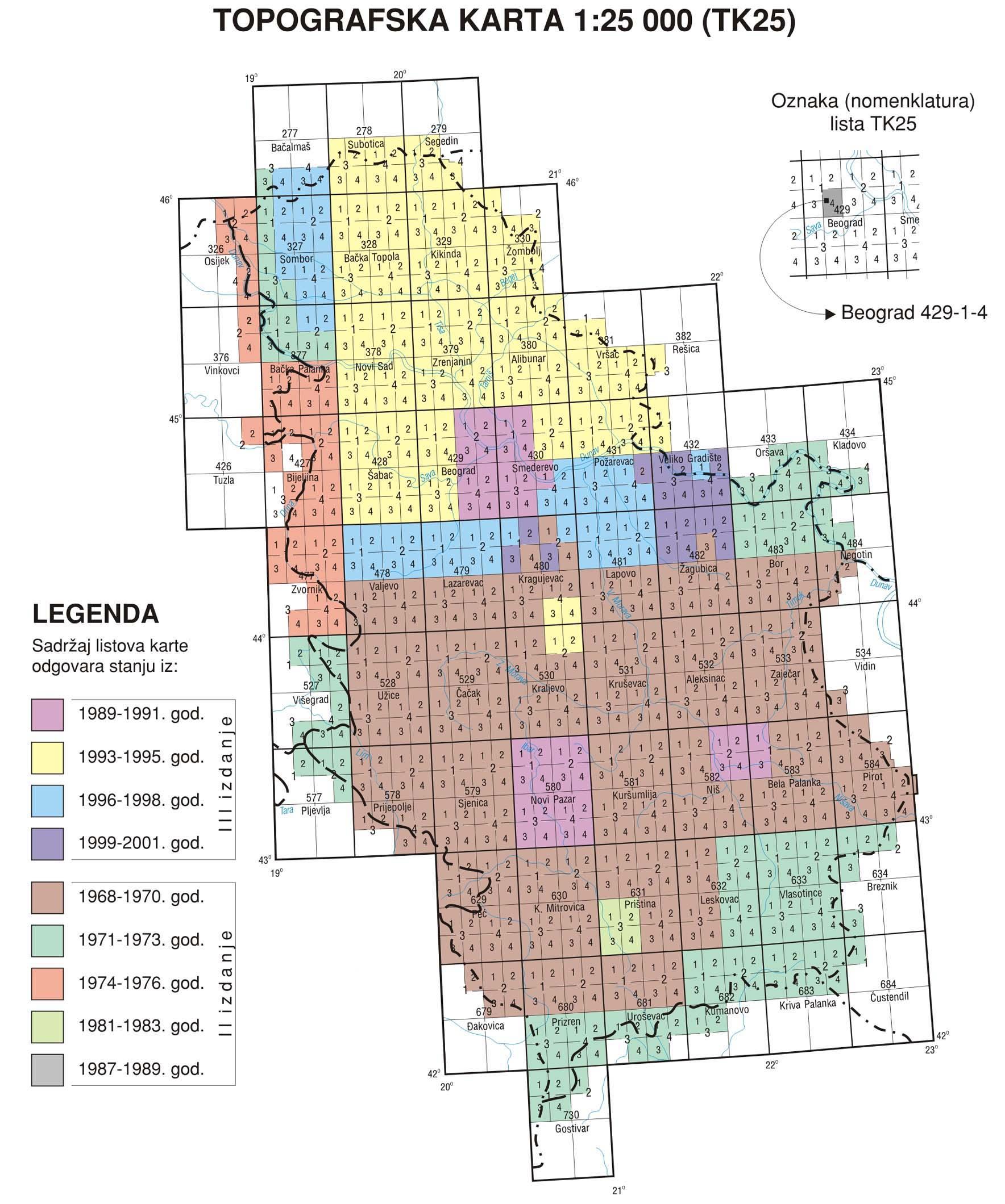Topografska Karta 1 25 000 Tk25 Ii Tk25 Iii Drugo I Trece